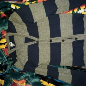 Navy blue and gray stripes button up cardigan